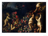 Putti Playing with Garlands of Flowers