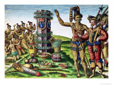 Rene Goulaine De Laudonniere (circa 1529-82) and Chief Athore in Front of Ribault's Column