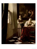 Lady Writing a Letter with Her Maid  circa 1670