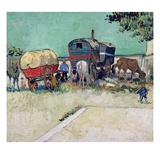 The Caravans  Gypsy Encampment Near Arles  1888