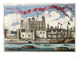 Tower of London Seen from the River Thames  from A Book of the Prospects of the Remarkable Places