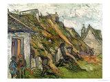 Thatched Cottages in Chaponval  Auvers-Sur-Oise  c1890