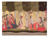 Radha and Krishna Seated in a Grove  Kulu  Himachal Pradesh  Pahari School  1790-1800