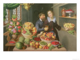 Man and Woman Before a Table Laid with Fruits and Vegetables