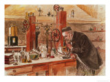 Louis Pasteur Experimenting for the Cure of Hydrophobia in His Laboratory  c 1885  Pub c 1895