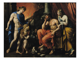 Orpheus before Pluto and Persephone (Oil on Canvas)