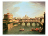 A View of Rome with the Bridge and Castel St Angelo by the Tiber