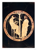 Athenian Red-Figure Kylix Depicting Aegeus  King of Athens  Consulting the Delphic Oracle (Pottery)