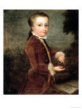 Portrait of Wolfgang Amadeus Mozart (1756-91) Aged Eight  Holding a Bird&#39;s Nest  1764-65