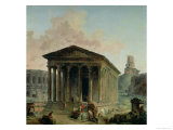 The Maison Carree with the Amphitheatre and the Tour Magne at Nimes  1786-87