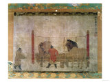 Hanging  of Grooms Feeding Horses  Ink and Watercolour on Silk  Attributed to Jen Jen-Far  Chinese