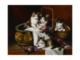 A Tabby Cat with Her Kittens in a Basket of Roses and Violets