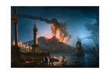 A Capriccio View of the Bay of Naples with Mount Vesuvius Erupting Behind