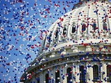Balloons Floating over US Capitol Dome