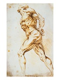 Anatomical Study: A Nude Striding to the Right His Hands Behind His Back