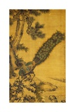 Bamboo  Pine and Peacocks Hanging Scroll  1752