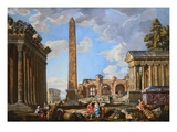 Capricci of Classical Ruins with the Colosseum and the Maison Carree  with Philosophers Discoursing