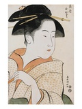 Bust Portrait of Ohisa of the Takashimaya Holding a Tobacco Pipe by Kiyomasa