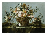 Flowers in a Basket and Flowers  a Sprig of Cherries