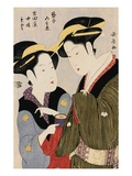 Double Half-Length Portrait of Moto  a Maidservant of the Yoshidaya and the Geisha Mizue
