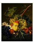 Fruit Still Life on a Marble Ledge by Jan van Huysum