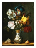 Irises  Roses and Other Flowers in a Porcelain Vase by Balthasar van der Ast