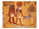 Mural Painting of Re-Harakhty in the Solar Boat Next to the Sacred Ibis