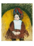 Margot in a Dark Red Costume Seated on a Round Backed Chair (La Petite)