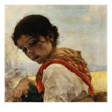 Painting of a Peasant Girl by Juan Antonio Benlliure y Gil