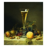 Painting of a Glass of Champagne  a Peach  Plums and a Bunch of Grapes on a Marble Ledge by Johann