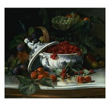 Plums  Grapes and Raspberries in a Porcelain Tureen