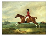 "Portrait of George Payne of Sulby on His Chestnut Hunter  ""The Clipper"" with the Pytchley at Full C"