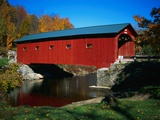 Red Covered Bridge on Rural Road