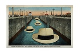 Postcard of Hats Floating Through Gatun Locks