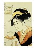 Portrait of the Teahouse Waitress Naniwaya Okita Serving a Cup of Tea on a Tray