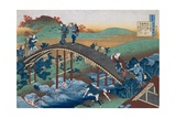 Print Depicting Travelers on a Bridge from Series the One Hundred Poems as Told by the Nurse