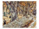 Road Menders in a Lane With Heavy Plane Trees Giclée par Vincent Van Gogh