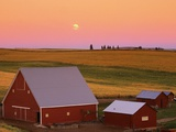 Sun Setting Behind Barns