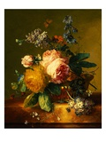 Still Life with a Bouquet of Roses and Other Flowers by Jan van Huysum