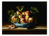 Still Life of Peaches and Grapes in a Chinese Porcelain Bowl