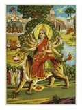 The Goddess Durga Color Lithograph