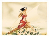 Wahine in Red  Hawaiian Woman with Outrigger Canoe  c1930s
