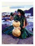 Grateful  Hula Girl with Ipu Drum  Hawaii