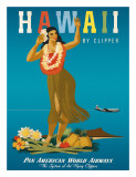 Hawaii By Clipper  Pan American Airways  Hula Girl  c1950