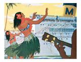 Hula Greeting on Boat Day  Honolulu Harbor  Hawaii  c1930