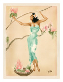 Magnolia  Hawaiian Woman with Flowers c1930s