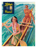 Surfing on Outrigger Canoe  Libby's Pineapple Hawaii  c1957