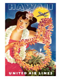 Hawaii  United Air Lines  Hawaiian Girl with Leis  c1949