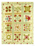 An Appliqued and Stuffed Cotton Quilted Coverlet  American  Mid 19th Century