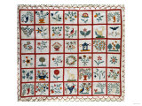 Appliqued Cotton Quilt Coverlet  Probably New York  Dated January 15th  1859